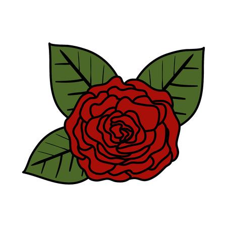 rose with leafs icon vector illustration design Archivio Fotografico - 124160064