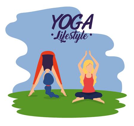 women practice yoga exercise pose vector illustration