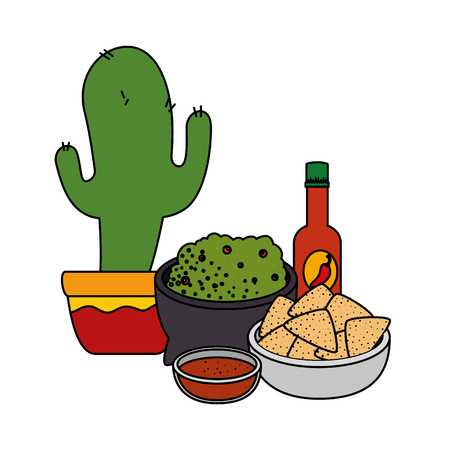 cactus with delicious mexican food vector illustration design Illustration