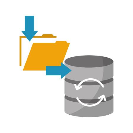 data center disks with folder isolated icon vector illustration design Illustration