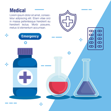 medical erlenmeyer flask treatment and pills vector illustration