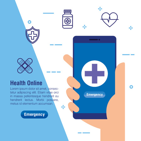 hand with smartphone technology and medical service vector illustration Illustration