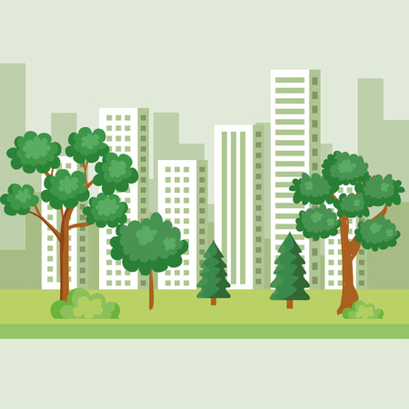 nature trees with pines and bushes to cityscape vector illustration