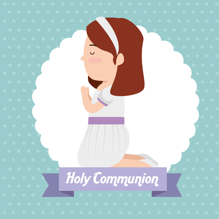 girl with hairstyle and dress to first communion vector illustration