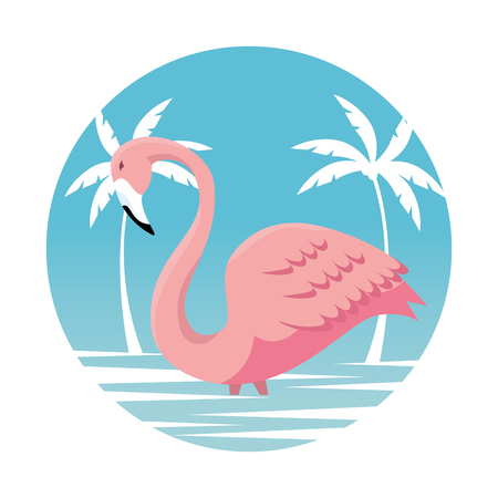 tropical flemish with palms trees in the beach vector illustration  イラスト・ベクター素材