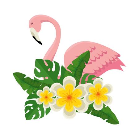 elegant flamingo bird with floral decoration vector illustration design Illustration