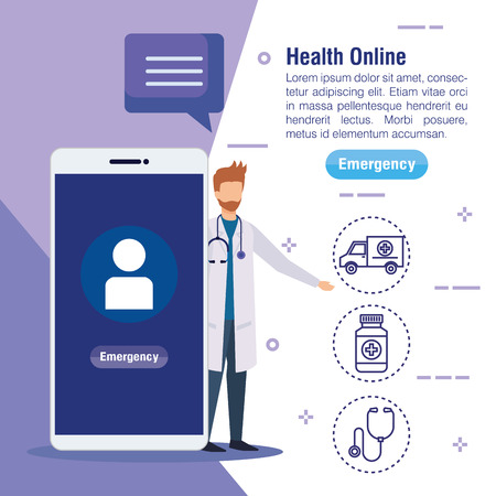 man with stethoscope and medical smartphone service vector illustration