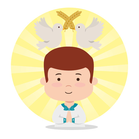 boy with doves and wheats to first communion vector illustration Stock Vector - 119782219