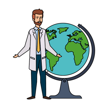 professional doctor with world planet avatar character vector illustration design