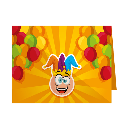 fools card with crazy emoticon and jester hat vector illustration design