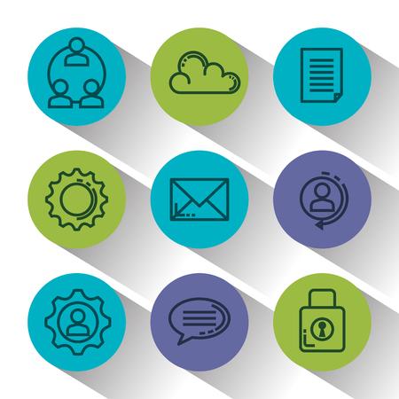 Marketing d'entreprise mis en icônes conception d'illustration vectorielle Vecteurs