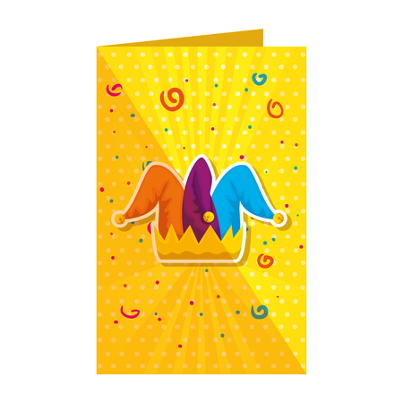 jester hat in fools day card vector illustration design