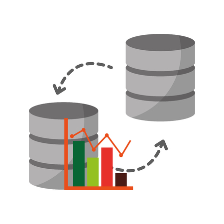 data center disks with statistical graphical isolated icon vector illustration design Standard-Bild - 124160193