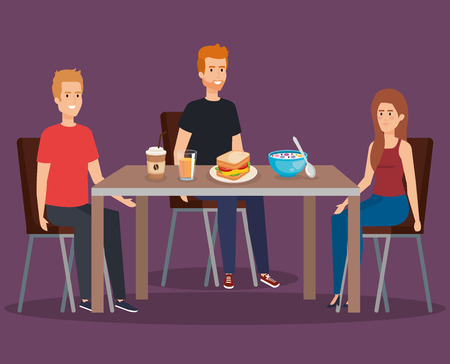 casual clothes eating pancakes with coffee and cereal vector illustration