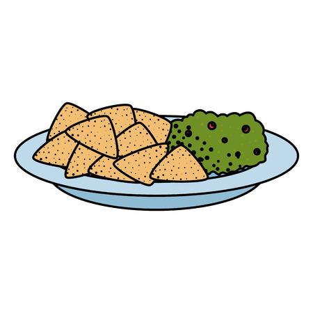 delicious nachos with guacamole mexican food vector illustration design