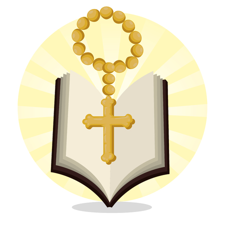bible with rosary beads to catholic event vector illustration