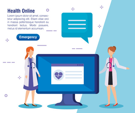 women doctors with laptop and chat bubble vector illustration