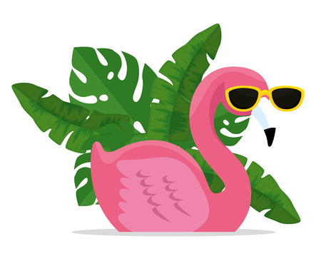 tropical flemish wearing sunglasses with exotic leaves vector illustration Illustration