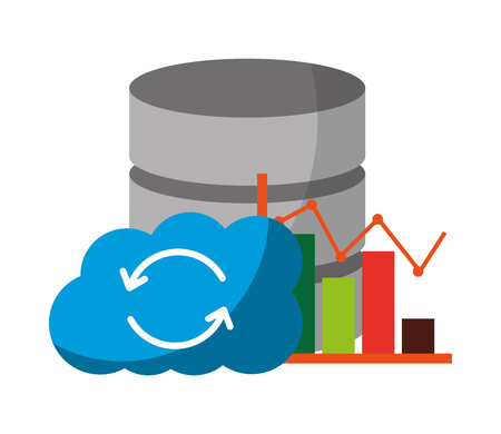 cloud computing with data server and graphical statistics vector illustration design  イラスト・ベクター素材