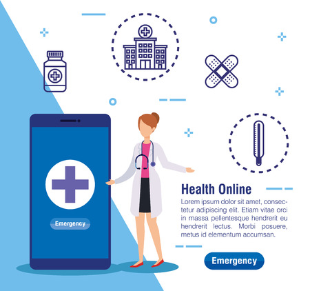 woman doctor with smartphone technology and stethoscope vector illustration Banco de Imagens - 119792438