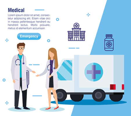 woman and man doctors with emergency ambulance vector illustration Illustration