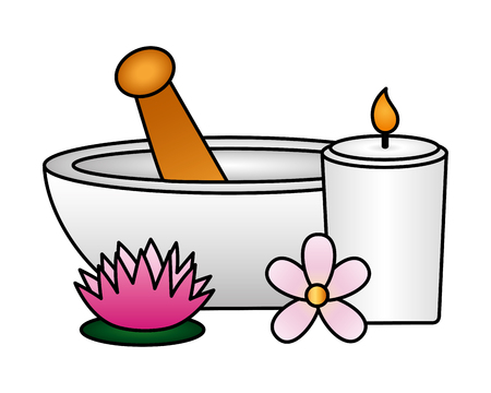 bowl candle flower spa treatment therapy vector illustration
