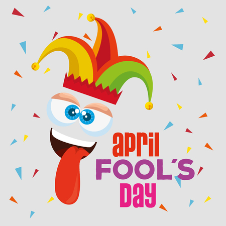 funny face expression with tongue to fools day vector illustration