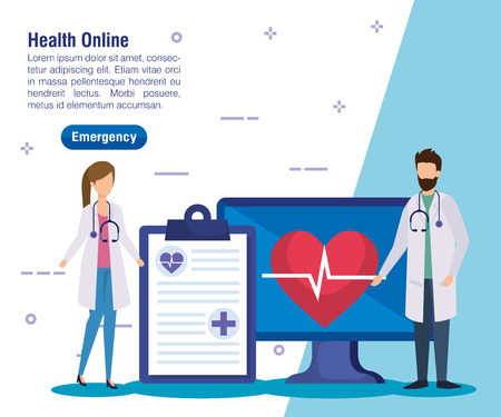 woman and man doctors with check list and computer vector illustration