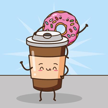 kawaii donut coffee cup fast food cartoon vector illustration Standard-Bild - 124160303