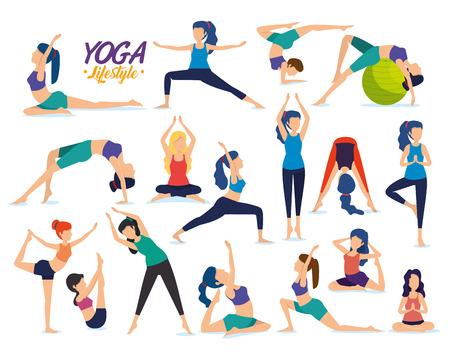 set fitness women practice yoga posture vector illustration