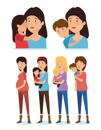 set women mothers with son and daugher vector illustration