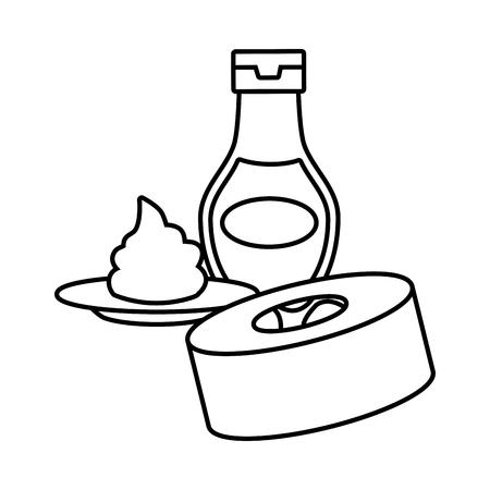 sushi wasabi sauce fast food white background vector illustration Illustration