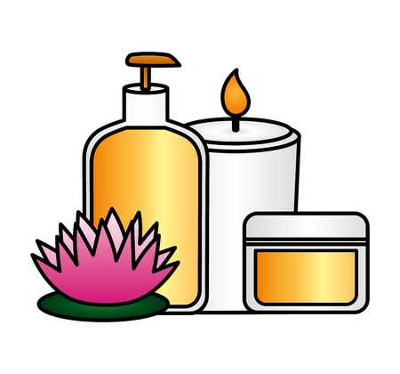 skin products care candle flower spa treatment therapy vector illustration Banco de Imagens - 124160368