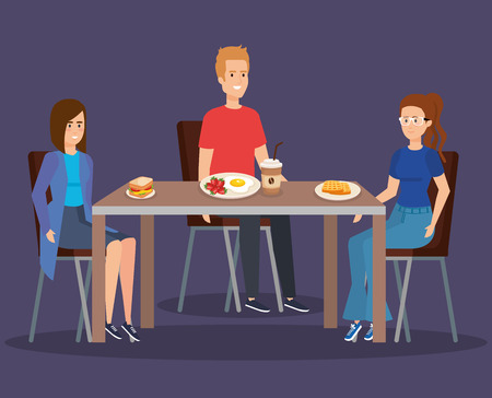 people eating waffles with sanwich and fried egg vector illustration  イラスト・ベクター素材