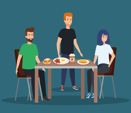people eating sandwich with coffee and waffles vector illustration Stock Illustratie