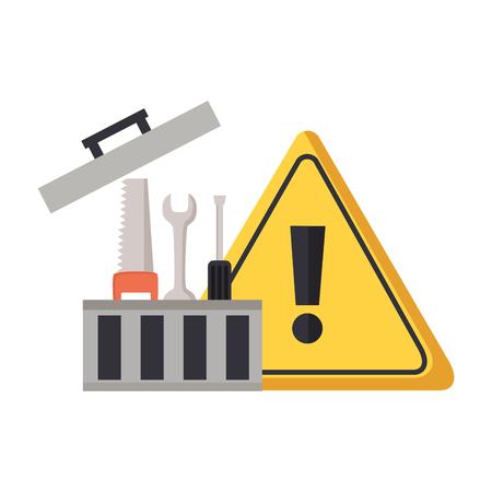 Boîte à outils réparation construction panneau d'avertissement vector illustration Vecteurs