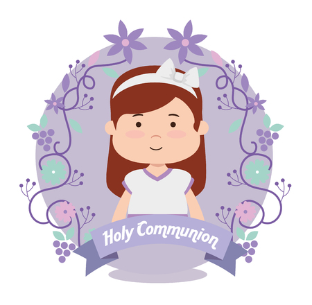girl with dress and branches leaves to first communion vector illustration Illustration