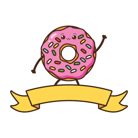 kawaii donut fast food cartoon vector illustration Stock Vector - 124160428