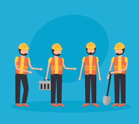 workers construction shovel toolkit equipment vector illustration