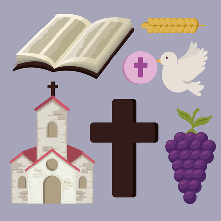 set church with bibble and cross to first communion vector illustration