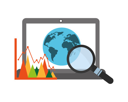 laptop computer with planet earth and set icons vector illustration design