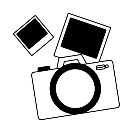 photographic camera pictures on white background vector illustration