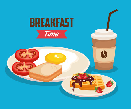 fried egg with sliced bread and waffles vector illustration Illustration