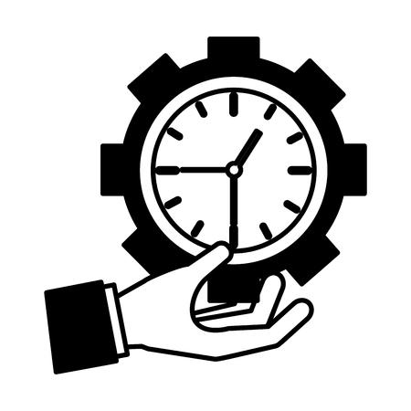 Hand, die Uhrzahnrad-weißer Hintergrundvektorillustration hält