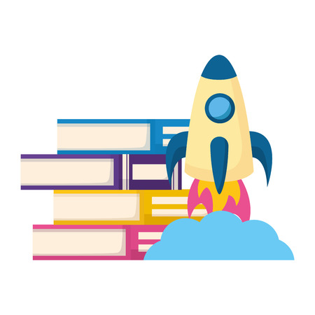 world book day stacked books rocket vector illustration Ilustração