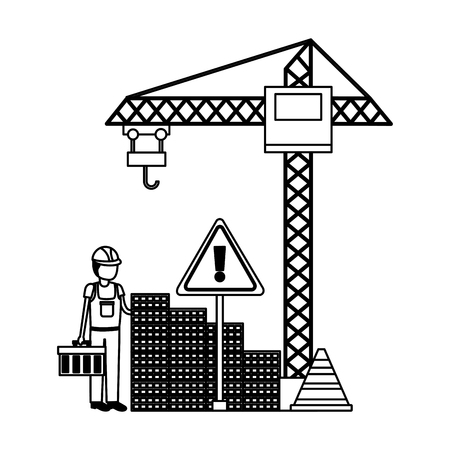 workers construction toolbox bricks crane city vector illustration