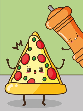 pizza pepper fast food cartoon vector illustration