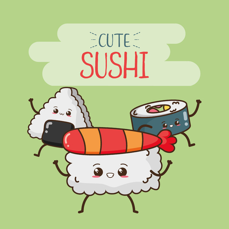 sushi rice fast food cartoon vector illustration