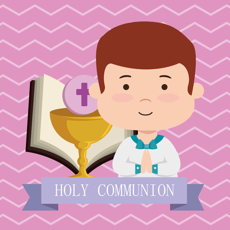 boy with bible and chalice to first communion vector illustration Stock Vector - 119805914