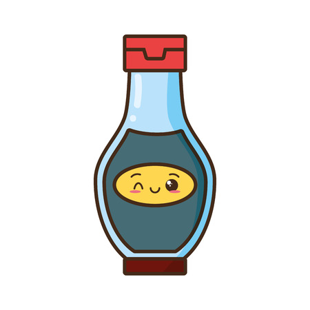 kawaii cartoon sauce bottle character vector illustration  イラスト・ベクター素材